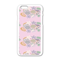 Floral Flower Rose Sunflower Star Leaf Pink Green Blue Apple Iphone 6/6s White Enamel Case by Alisyart