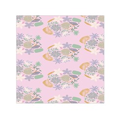 Floral Flower Rose Sunflower Star Leaf Pink Green Blue Small Satin Scarf (square)