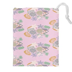 Floral Flower Rose Sunflower Star Leaf Pink Green Blue Drawstring Pouches (xxl) by Alisyart