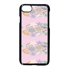 Floral Flower Rose Sunflower Star Leaf Pink Green Blue Apple Iphone 7 Seamless Case (black) by Alisyart