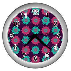 Flower Floral Rose Sunflower Purple Blue Wall Clocks (silver)