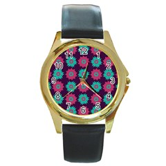 Flower Floral Rose Sunflower Purple Blue Round Gold Metal Watch by Alisyart