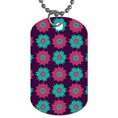 Flower Floral Rose Sunflower Purple Blue Dog Tag (one Side) by Alisyart