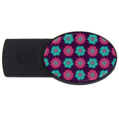 Flower Floral Rose Sunflower Purple Blue Usb Flash Drive Oval (2 Gb) by Alisyart