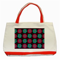 Flower Floral Rose Sunflower Purple Blue Classic Tote Bag (red) by Alisyart