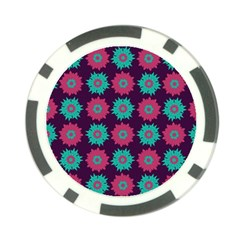 Flower Floral Rose Sunflower Purple Blue Poker Chip Card Guard (10 Pack) by Alisyart