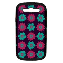 Flower Floral Rose Sunflower Purple Blue Samsung Galaxy S Iii Hardshell Case (pc+silicone) by Alisyart