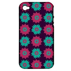 Flower Floral Rose Sunflower Purple Blue Apple Iphone 4/4s Hardshell Case (pc+silicone) by Alisyart