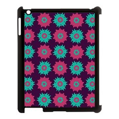 Flower Floral Rose Sunflower Purple Blue Apple Ipad 3/4 Case (black) by Alisyart