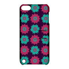 Flower Floral Rose Sunflower Purple Blue Apple Ipod Touch 5 Hardshell Case With Stand