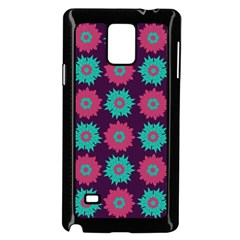 Flower Floral Rose Sunflower Purple Blue Samsung Galaxy Note 4 Case (black) by Alisyart