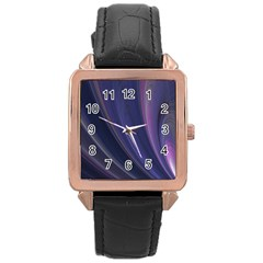Purple Fractal Rose Gold Leather Watch  by Simbadda