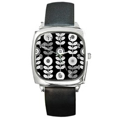 Floral Pattern Seamless Background Square Metal Watch by Simbadda