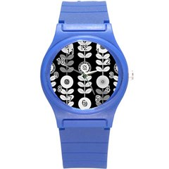 Floral Pattern Seamless Background Round Plastic Sport Watch (s) by Simbadda
