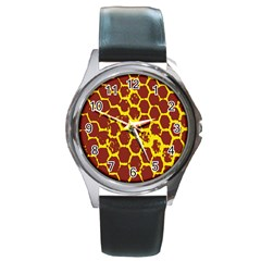 Network Grid Pattern Background Structure Yellow Round Metal Watch by Simbadda