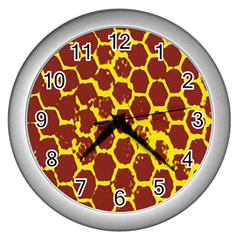 Network Grid Pattern Background Structure Yellow Wall Clocks (silver)