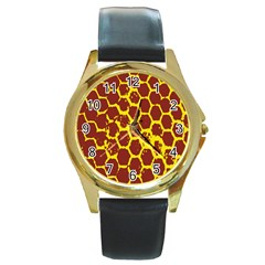 Network Grid Pattern Background Structure Yellow Round Gold Metal Watch by Simbadda