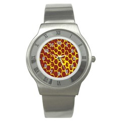 Network Grid Pattern Background Structure Yellow Stainless Steel Watch by Simbadda