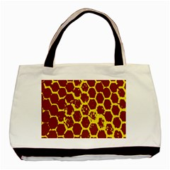 Network Grid Pattern Background Structure Yellow Basic Tote Bag