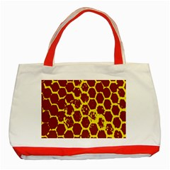 Network Grid Pattern Background Structure Yellow Classic Tote Bag (red) by Simbadda