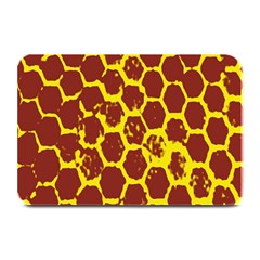 Network Grid Pattern Background Structure Yellow Plate Mats by Simbadda