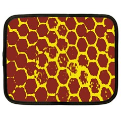 Network Grid Pattern Background Structure Yellow Netbook Case (xl)  by Simbadda