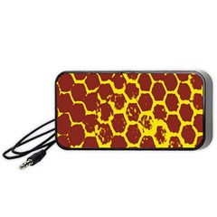 Network Grid Pattern Background Structure Yellow Portable Speaker (black) by Simbadda
