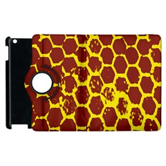 Network Grid Pattern Background Structure Yellow Apple Ipad 3/4 Flip 360 Case