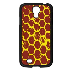 Network Grid Pattern Background Structure Yellow Samsung Galaxy S4 I9500/ I9505 Case (black)