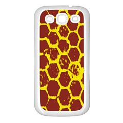 Network Grid Pattern Background Structure Yellow Samsung Galaxy S3 Back Case (white) by Simbadda