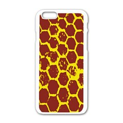 Network Grid Pattern Background Structure Yellow Apple Iphone 6/6s White Enamel Case by Simbadda