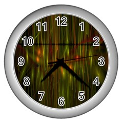 Fractal Rain Wall Clocks (silver)  by Simbadda