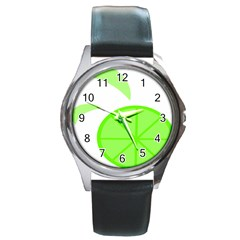 Fruit Lime Green Round Metal Watch by Alisyart