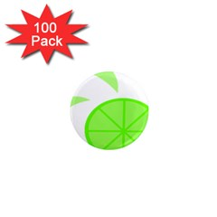 Fruit Lime Green 1  Mini Magnets (100 Pack)  by Alisyart