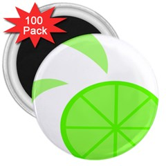 Fruit Lime Green 3  Magnets (100 Pack) by Alisyart