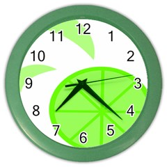Fruit Lime Green Color Wall Clocks