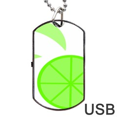 Fruit Lime Green Dog Tag Usb Flash (two Sides) by Alisyart