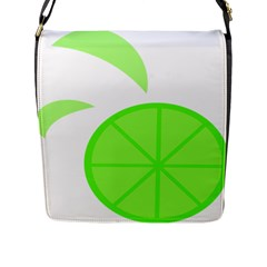 Fruit Lime Green Flap Messenger Bag (l)  by Alisyart