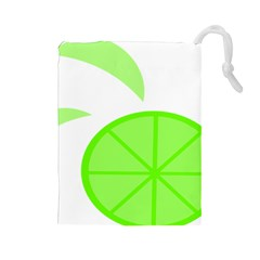 Fruit Lime Green Drawstring Pouches (large)