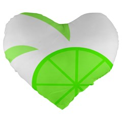 Fruit Lime Green Large 19  Premium Flano Heart Shape Cushions by Alisyart