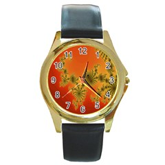 Decorative Fractal Spiral Round Gold Metal Watch by Simbadda