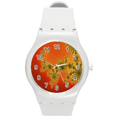 Decorative Fractal Spiral Round Plastic Sport Watch (m) by Simbadda
