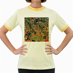 Floral Pattern Background Women s Fitted Ringer T Shirts by Simbadda