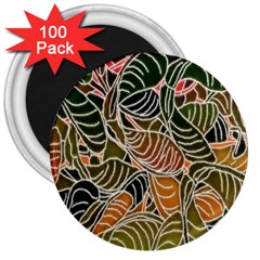 Floral Pattern Background 3  Magnets (100 Pack) by Simbadda