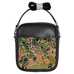 Floral Pattern Background Girls Sling Bags by Simbadda