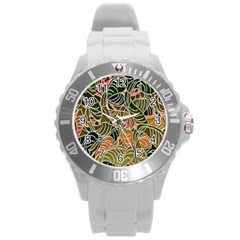 Floral Pattern Background Round Plastic Sport Watch (l)
