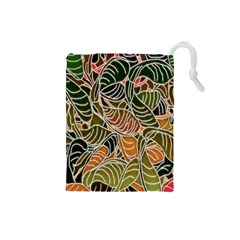 Floral Pattern Background Drawstring Pouches (small)  by Simbadda