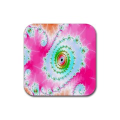 Decorative Fractal Spiral Rubber Coaster (square)  by Simbadda