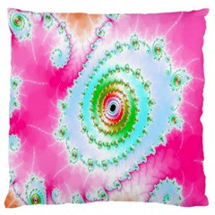 Decorative Fractal Spiral Large Cushion Case (two Sides) by Simbadda