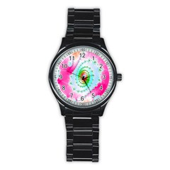 Decorative Fractal Spiral Stainless Steel Round Watch by Simbadda